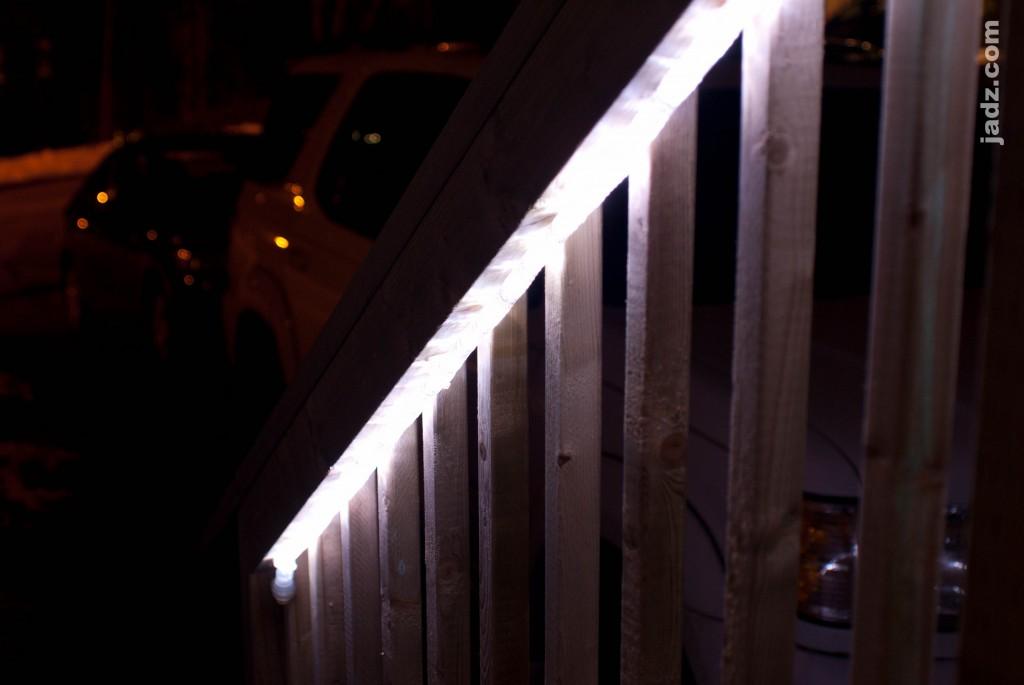 deck lighting with led rope lights jadz. Black Bedroom Furniture Sets. Home Design Ideas